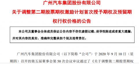 广汽集团再度调整第二期股票期权激励计划行权价格