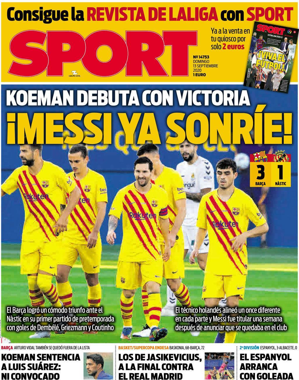 """今日每日体育报——""""梅西笑了"""" 在科曼的首场比赛中……"""