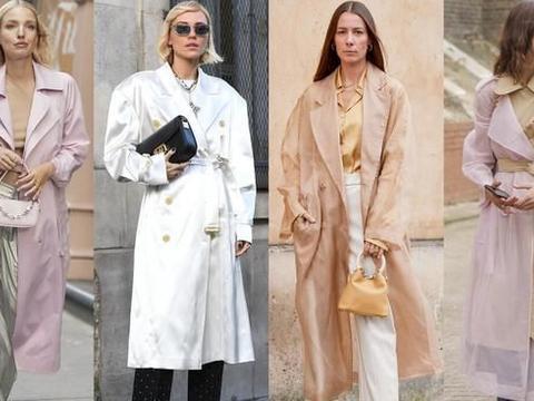 马卡龙色风衣正流行,轻薄款式用来过渡刚刚好,时髦又吸睛