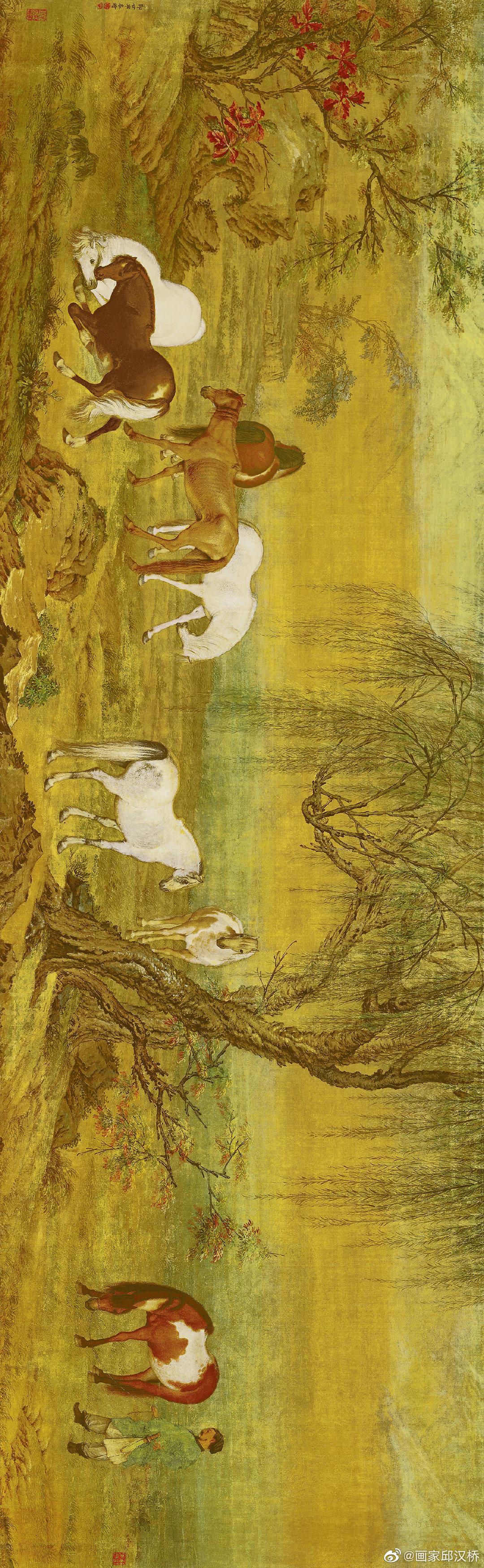 《郊原牧马图》,清代,郎世宁,绢本设色,纵51.2cm,横166cm……