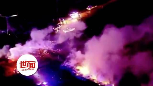 美国俄克拉荷马州天然气管道爆炸:巨大火球冲天
