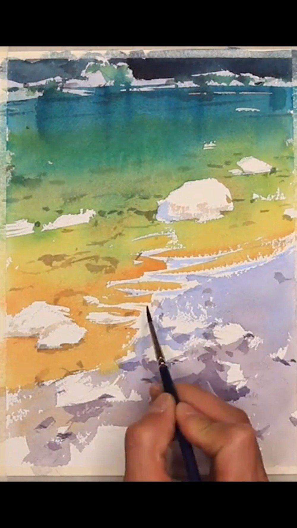 学会如何用水彩画出溪流石滩