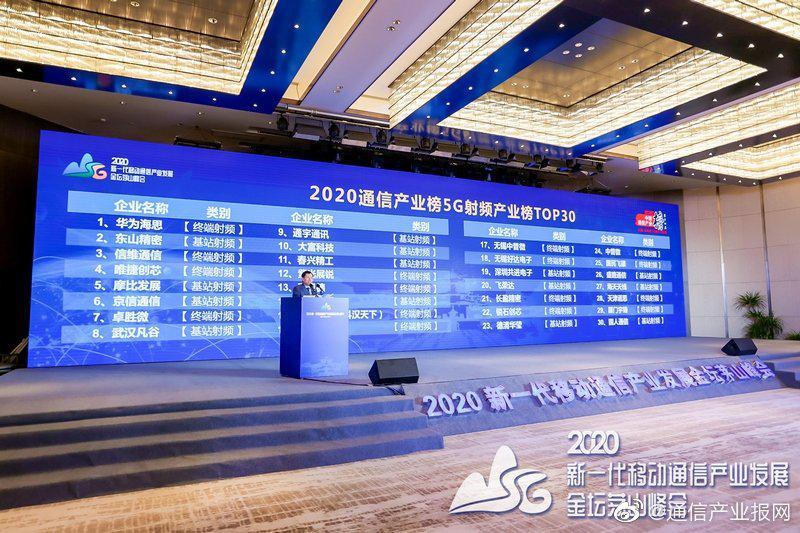 2020通信产业榜5G射频产业榜TOP30出炉