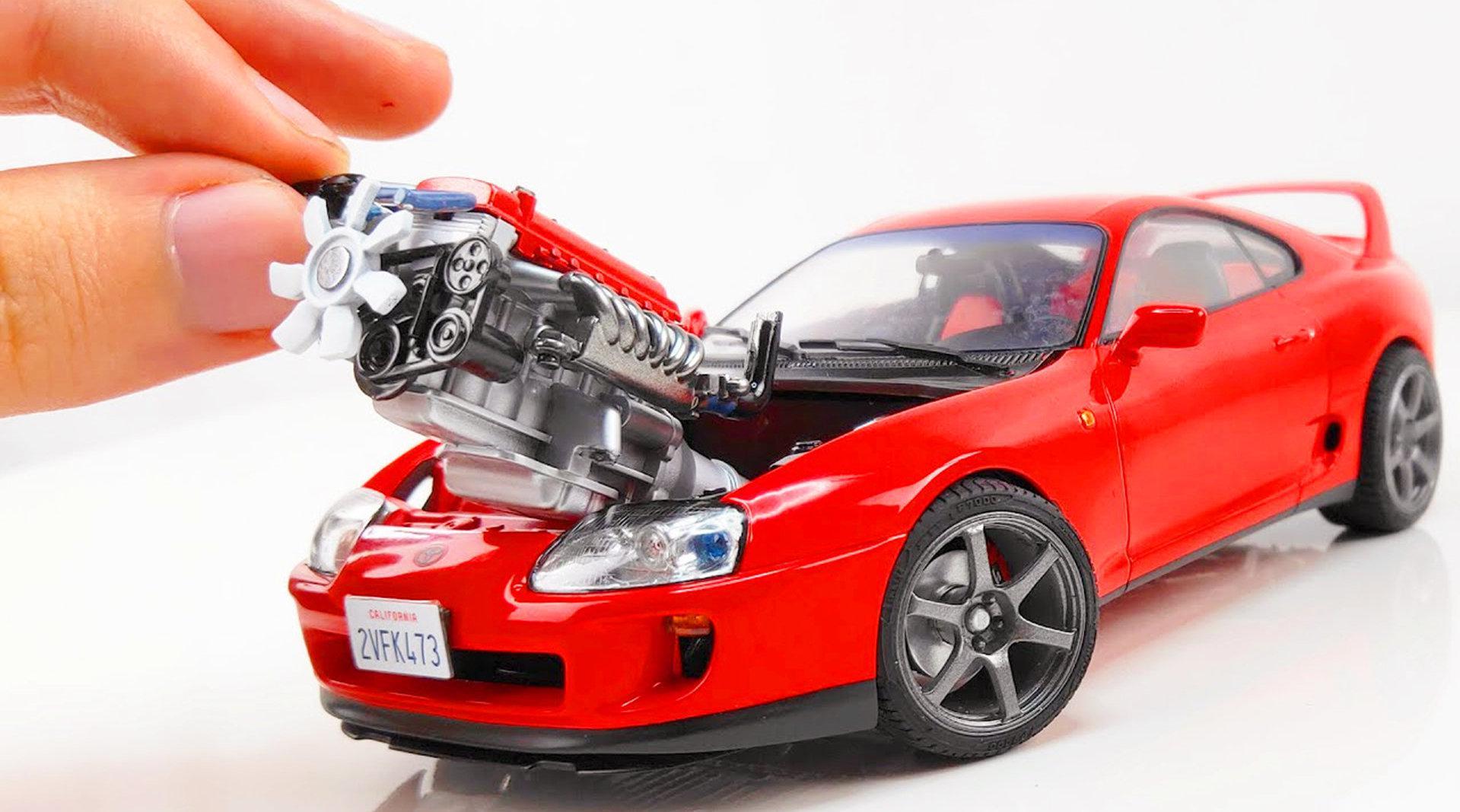视频:拼装丰田超Mk4模型,动手能力太强了,不服都不行