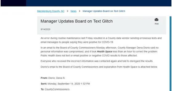 北卡罗来纳州超7000名居民收到短信或邮件被通知感染新冠,当地政府澄清:系统错误