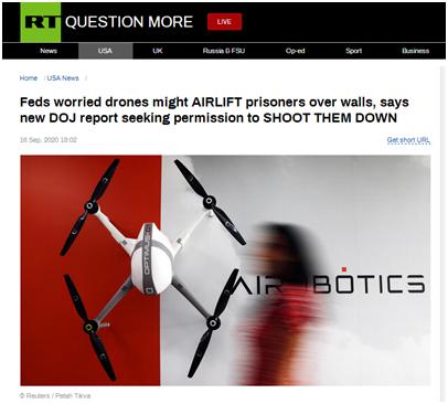 无人机将协助囚犯越狱?美国联邦监狱管理局有点急……
