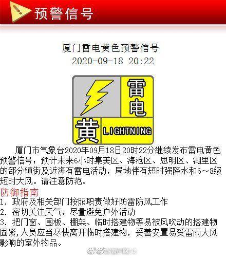 厦门市气象台18日20时22分继续发布雷电黄色预警