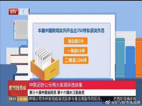 中国记协公示两大奖项评选结果