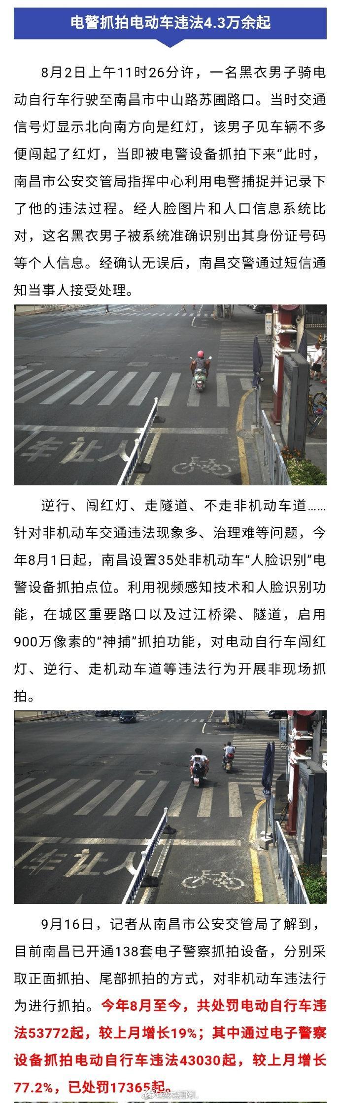 南昌已开通138套电警抓拍非机动车违法