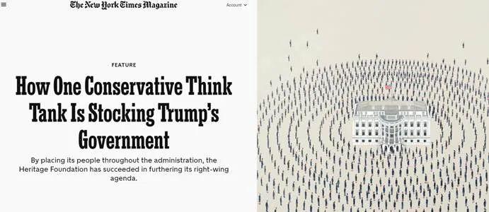 图为美国《纽约时报》揭露美国传统基金会的报道,称该基金会与特朗普当局关系紧密,并安插了很多右翼分子进入美国政府