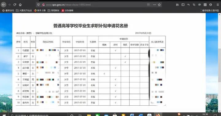 河北曲周县官网泄露申请补贴学生隐私信息,澎湃致电后删除