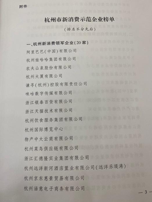 杭州市政府公布20家新消费领军企业 银泰百货、天猫等上榜图片