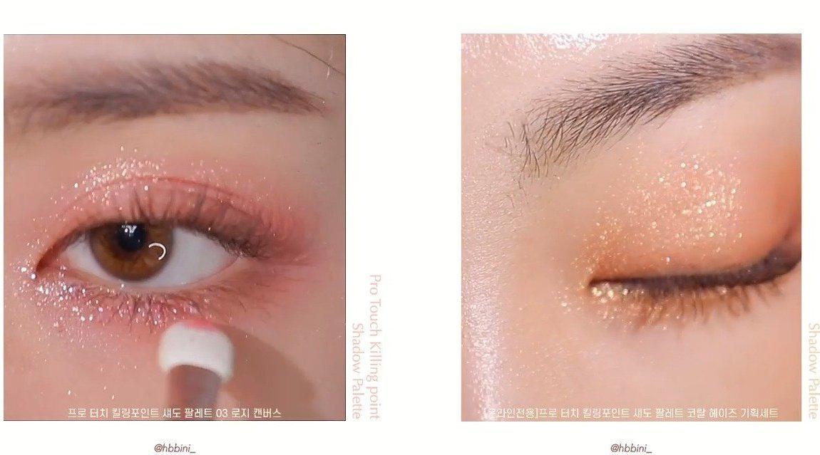 「蜜桃粉🌸+珊瑚粉棕🍊两种眼妆晕染」