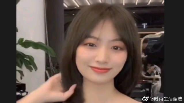 甜美可爱气质型法式刘海,减龄瘦脸神器