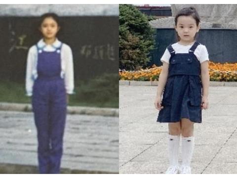 董璇晒与女儿同地对比照,同款服饰惊人相似,小酒窝像极了妈妈