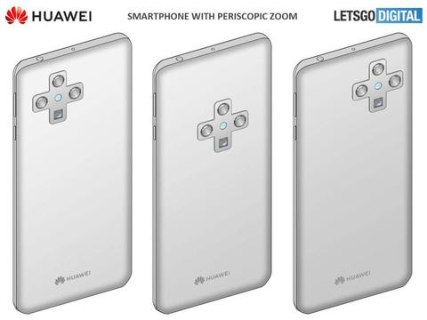华为手机又一屏下前摄外观设计专利曝光 后置十字四摄+潜望式镜头