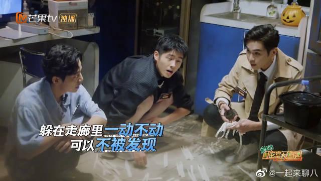 何炅、刘昊然、张若昀楼道缩成一团 躲在楼道……