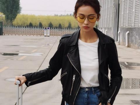吴谨言私服穿搭超酷,瘦小身躯似驾驭不上,外套配牛仔裤认真的?