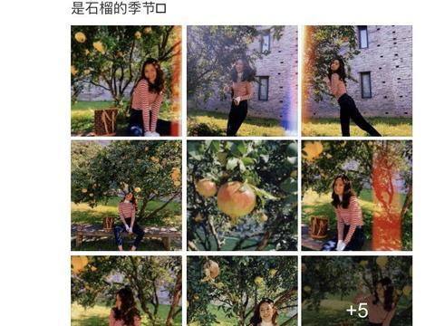 张子萱石榴树下拍写真,嘟嘴卖萌凹造型,青春靓丽如花季少女