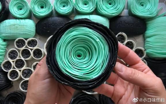 捏黑绿色超大皂卷花,刮肥皂,舒服~