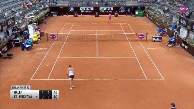 WTA罗马超五赛决赛,头号种子哈勒普6-0/2-1领先时……