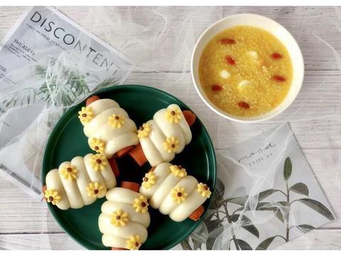 小雏菊火腿馒头卷搭配南瓜山药小米粥,令人惊喜的营养早餐