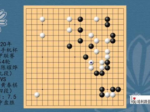 2020年华为手机杯围甲联赛第4轮,陈耀烨VS黄春棋,黑中盘胜