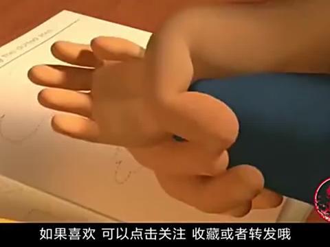 一部讽刺动画,因孩子拿不动铅笔,妈妈就给他换了条机械手臂