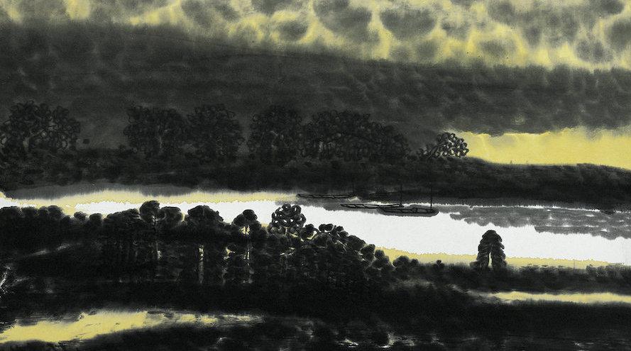 邱汉桥山水画《小息金湖湾》