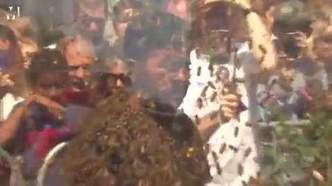 男子挑战世界纪录被蜜蜂包裹一小时,脸被蛰无数次快毁容了