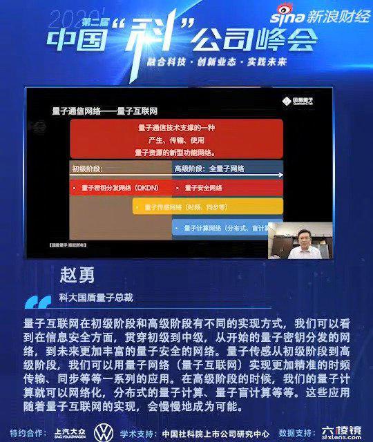 国盾量子赵勇表示,我们在互联网上常用的这些加密体系……