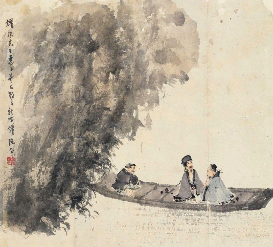 傅抱石笔下的画风极具浪漫色彩,不管是山水还是人物……