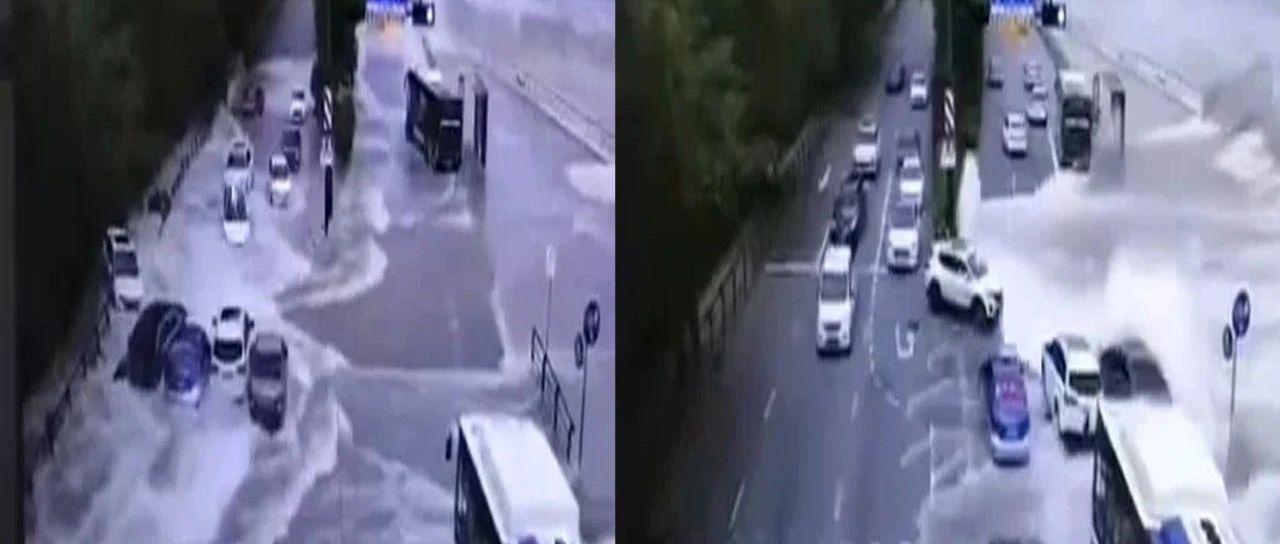 钱塘江潮水漫堤  多车受损被迫漂移 谁担责?