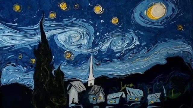 土耳其艺术家Garip Ay用湿拓画还原梵高星月夜和自画像