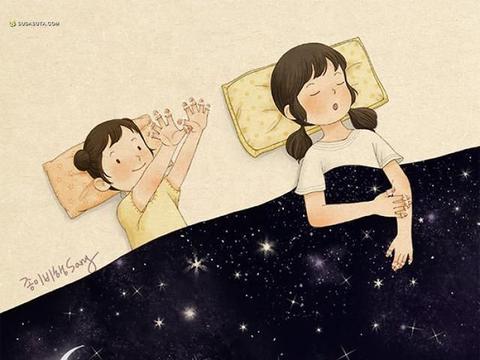 韩国插画家用温暖的色彩和笔触,描绘了姐妹之间特别的关系