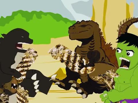 哥斯拉和绿巨人争夺烤肉,看他们能分配均匀吗?