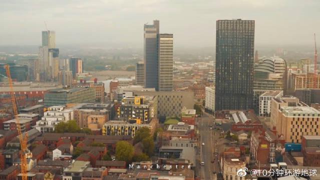 航拍英国曼彻斯特,正在崛起的一座英格兰城市