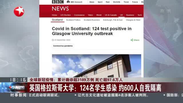 英国格拉斯哥大学:124名学生感染  约600人自我隔离