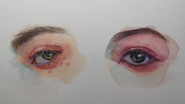水彩眼睛的绘画过程,想画的好,得练习