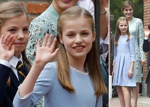 索菲亚公主10岁的圣餐,她的外婆一身白色正装,优雅大气