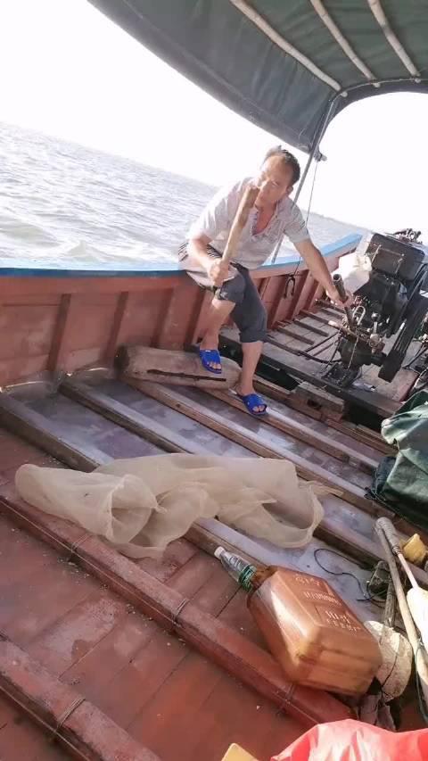 开船去海上玩,这个老人一直在敲这个木头是什么意思?
