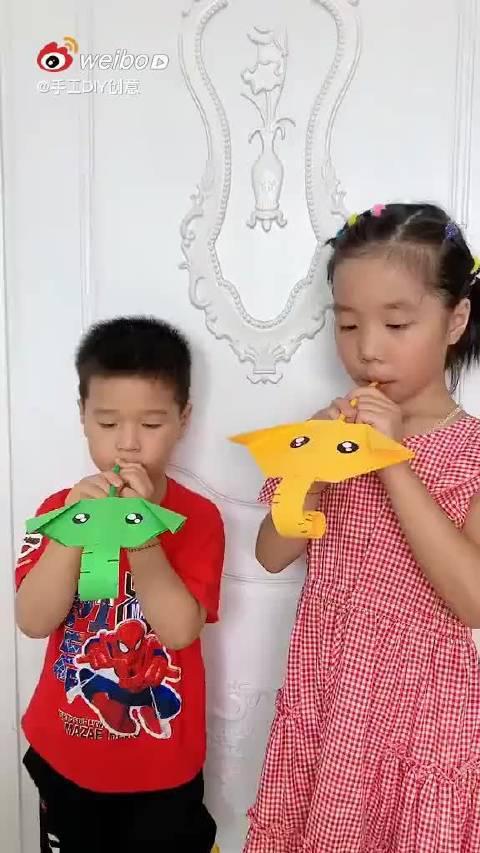 亲子游戏手工折纸小象的长鼻子 无聊的时候……
