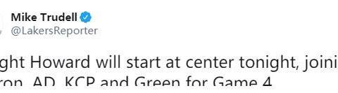 湖人终做变阵决定,复赛后三大状元首次首发,霍华德能控制犯规?