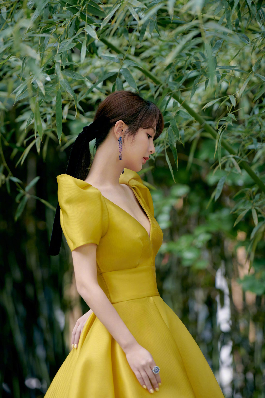 杨紫百花奖闭幕式造型,一袭金色长裙,在逃小公主!