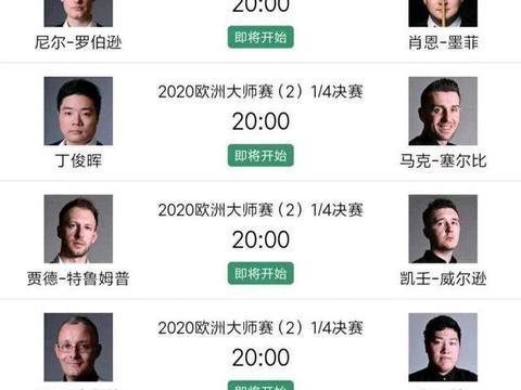 欧洲大师赛8强出炉!丁俊晖对决塞尔比,中国两选手渴望会师决赛