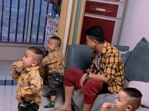 三胞胎宝爸真是太难了,想吃东西都要每天和三个儿子斗智斗勇,太
