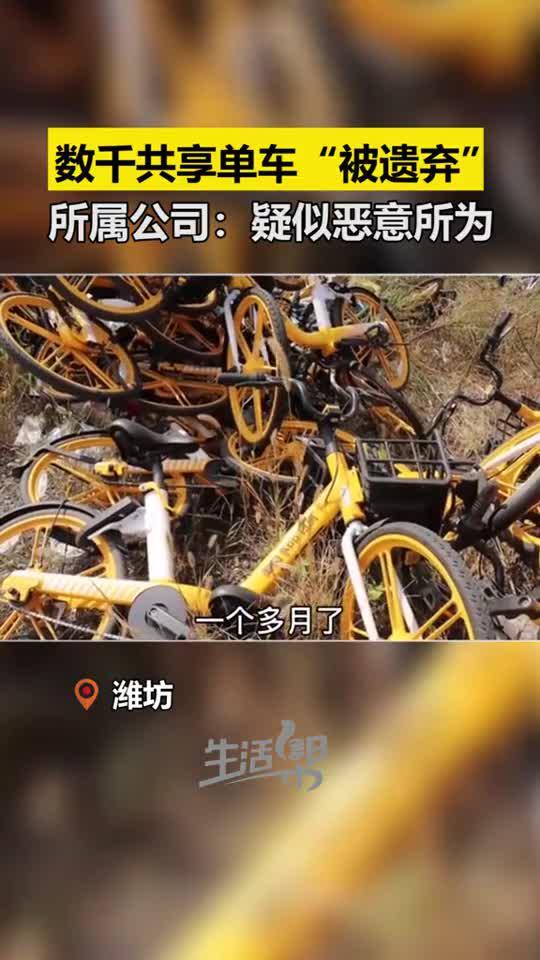 """潍坊:数千共享单车""""被遗弃"""",单车所属公司:疑似恶意所为"""
