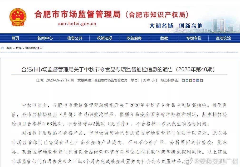 合肥市市场监管局组织中秋节令食品抽检2批次样品不合格