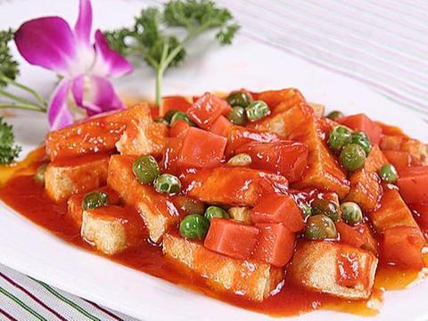 美食:草菇虾仁,茄汁扒豆腐