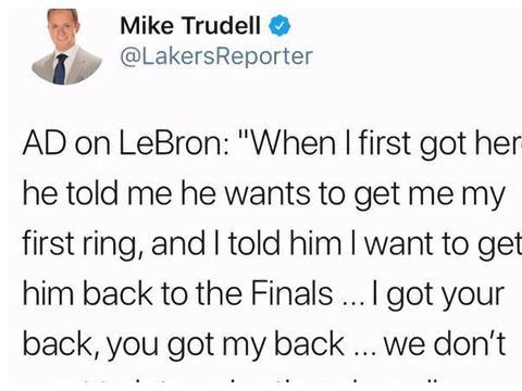 浓眉:勒布朗告诉我,他要帮我赢得第一枚总冠军戒指!